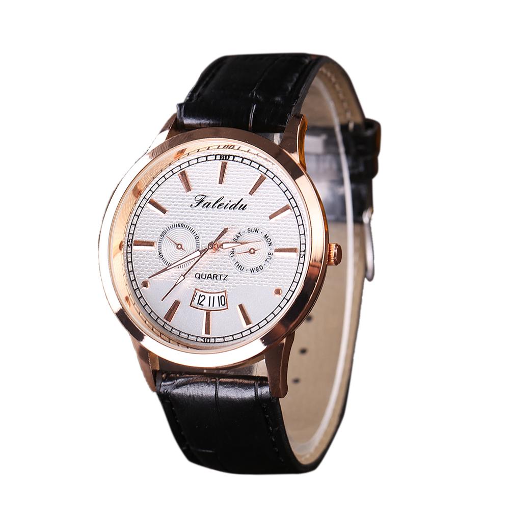 Небольшие мужские часы «Faleidu» с золотым корпусом, датой и чёрным ремешком купить. Цена 340 грн