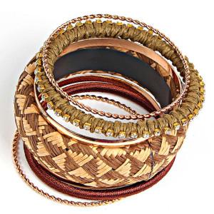 Набор браслетов разной ширины «Бангалор» в восточном стиле купить. Цена 160 грн