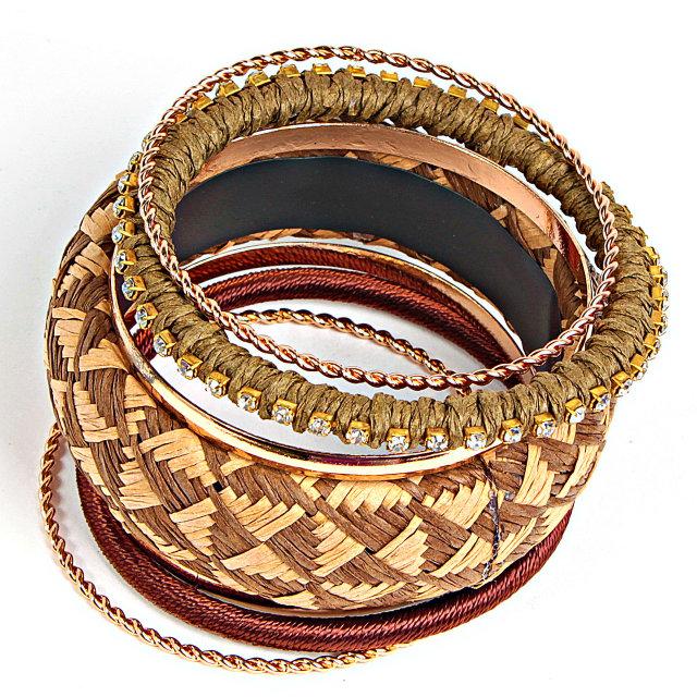 Набор браслетов разной ширины «Бангалор» в восточном стиле купить. Цена 165 грн