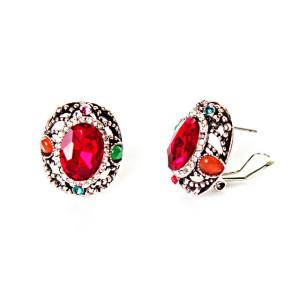 Восхитительные серьги «Аделаида» с красным камнем в оправе под античное серебро купить. Цена 110 грн