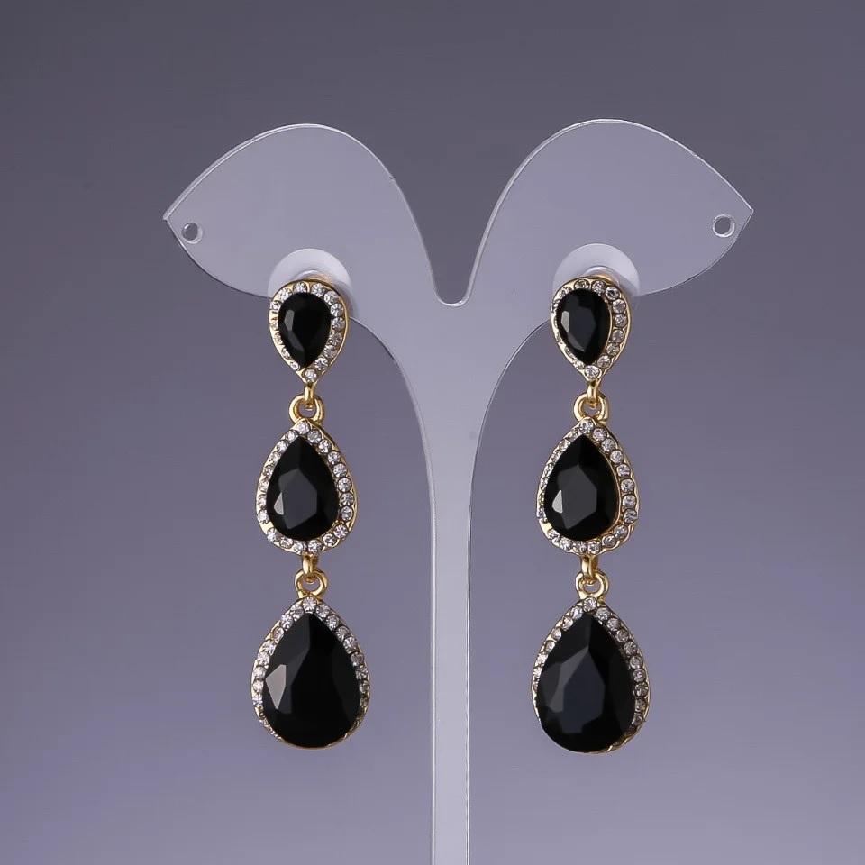 Длинные серьги «Камилла» с крупными камнями чёрного цвета купить. Цена 245 грн