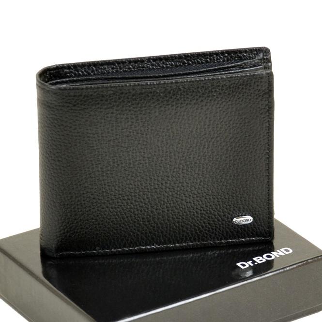 Крупный мужской бумажник «Dr.Bond» на магните из зернистой чёрной кожи купить. Цена 590 грн