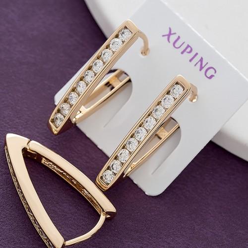 Популярные серьги «Флейта» с дорожкой из фианитов в позолоченной оправе купить. Цена 165 грн