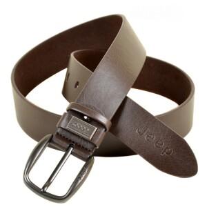 Лаконичный мужской ремень «JEEP» коричневого цвета из кожи с чёрной пряжкой купить. Цена 385 грн