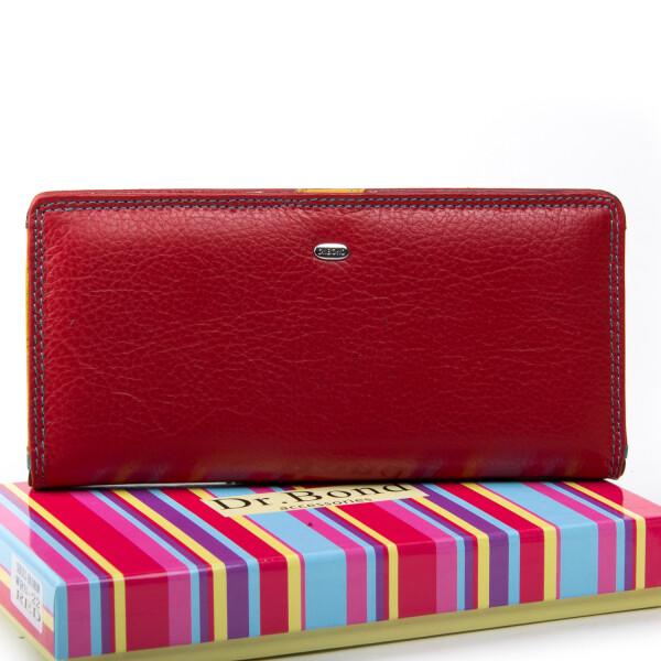 Стильный женский кошелёк «Dr.Bond» красного цвета из натуральной кожи купить. Цена 899 грн