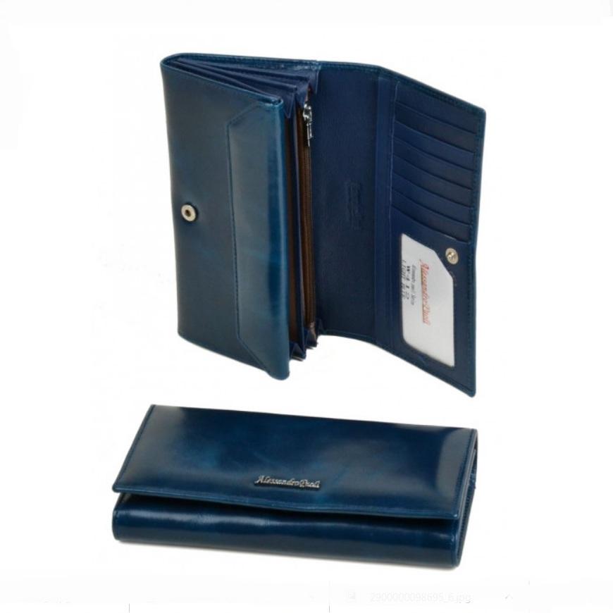 Лёгкий кошелёк «A.Paoli» синего цвета из гладкой масляной кожи купить. Цена 799 грн
