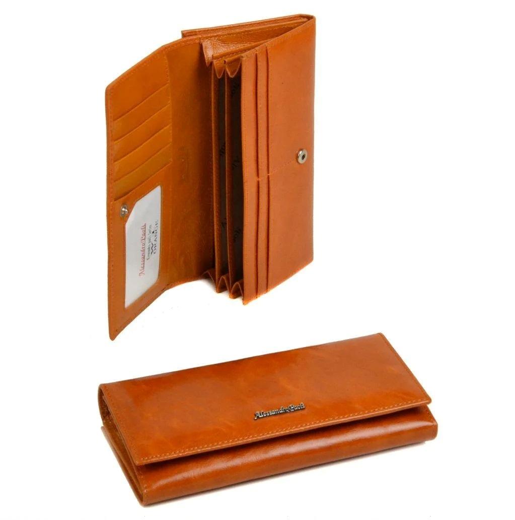 Классический кошелёк «A.Paoli» жёлтого цвета из глянцевой масляной кожи купить. Цена 799 грн