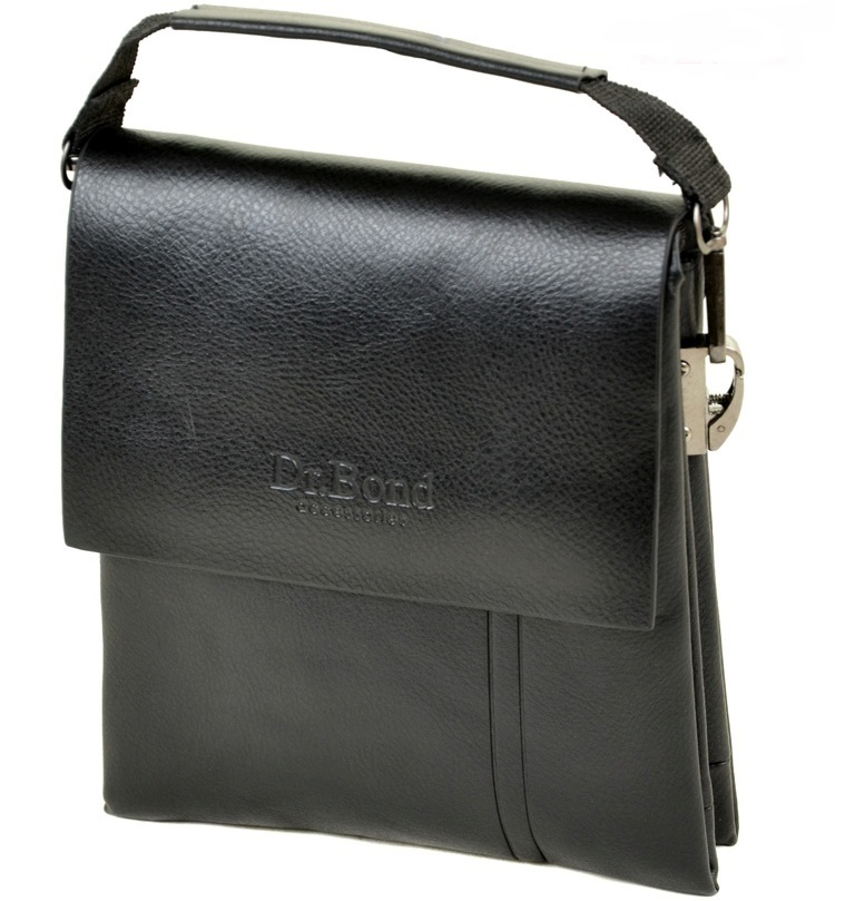 Лаконичная мужская сумка «Dr.Bond» из качественной искусственной кожи чёрного цвета купить. Цена 545 грн