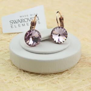 Нежные серьги «Сирень» с круглым камнем Swarovski в позолоте купить. Цена 275 грн