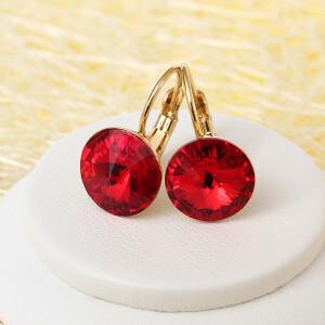 Яркие серьги «Багряные» с круглым камнем Swarovski насыщенного красного цвета купить. Цена 275 грн