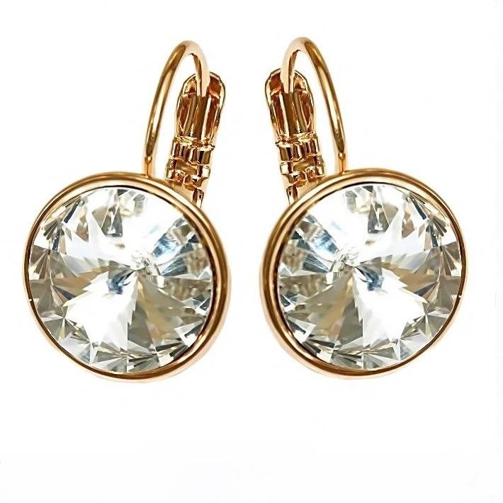 Роскошные серьги «Королевские» с большим кристаллом Swarovski в позолоте купить. Цена 345 грн