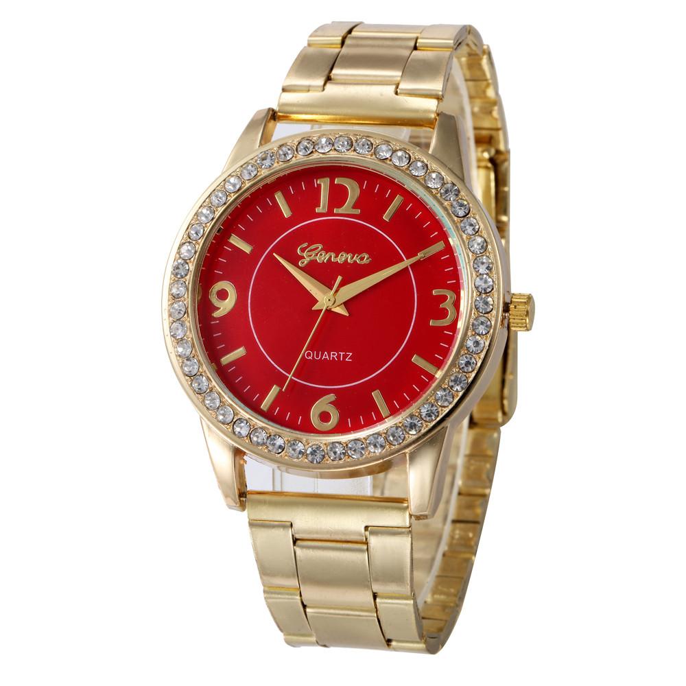 Отличные часы «Geneva» с красным циферблатом и металлическим браслетом золотого цвета купить. Цена 345 грн