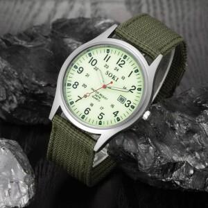 Мужские часы «SOKI» в стиле милитари с зелёным нейлоновым ремешком купить. Цена 280 грн