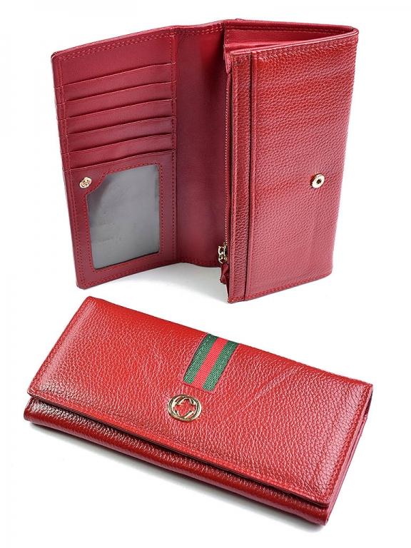 Недорогой кошелёк «Cossroll» красного цвета из комбинации кожи и экокожи купить. Цена 450 грн