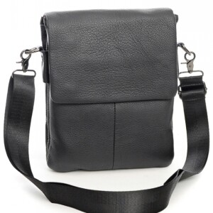 Простая мужская сумка «Laras» из чёрной фактурной натуральной кожи купить. Цена 1390 грн