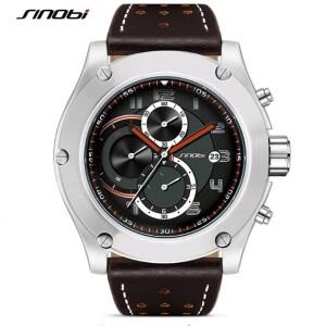 Большие мужские часы «Sinobi» с матовым серебристым корпусом фото. Купить