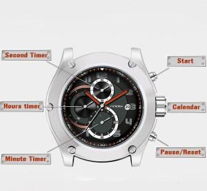 Большие мужские часы «Sinobi» с матовым серебристым корпусом фото 1