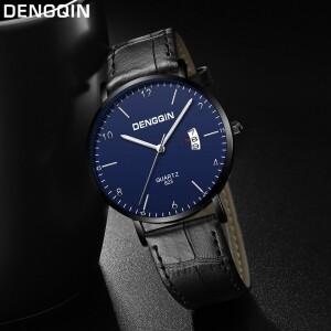 Тонкие мужские часы «Dengqin» с синим циферблатом в чёрном корпусе купить. Цена 399 грн