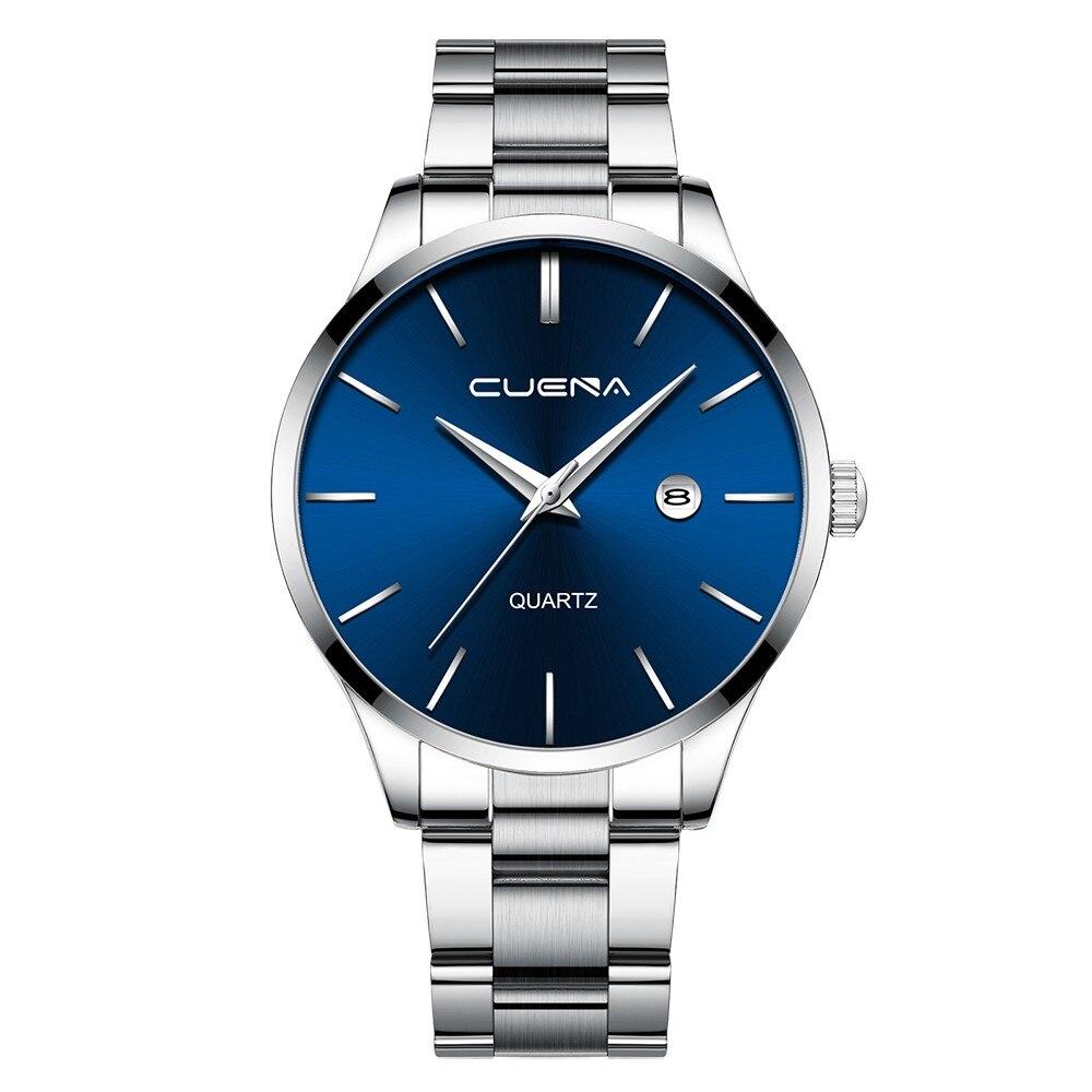 Великолепные мужские часы «Cuena» с синим циферблатом и стальным браслетом купить. Цена 499 грн