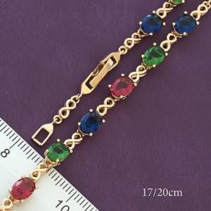 Красивый браслет «Лиссабон» с разноцветными фианитами овальной формы в позолоте купить. Цена 350 грн