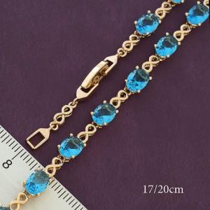 Изящный позолоченный браслет «Лиссабон» с овальными фианитами голубого цвета купить. Цена 350 грн