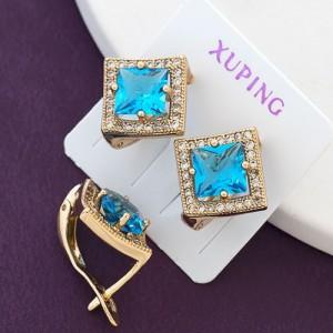 Нежные голубые серьги-ромбики «Вентура» с 18-ти каратным золотым напылением фото. Купить