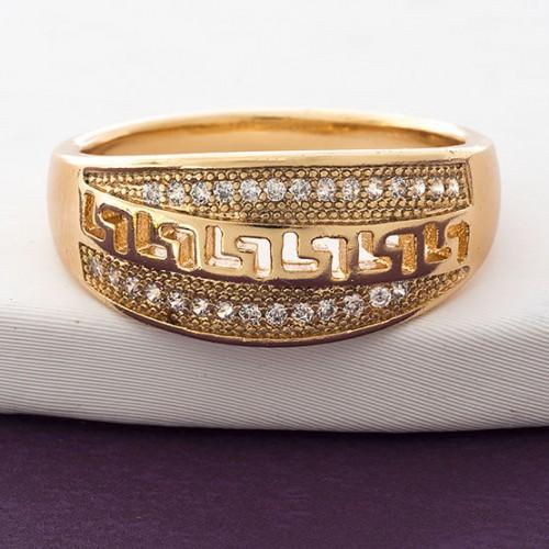 Симпатичное кольцо «Фокида» с бесцветными фианитами и покрытием из золота купить. Цена 175 грн