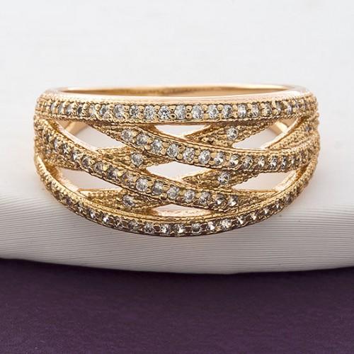 Элегантное кольцо «Прерия»с множеством мелких камней в позолоте купить. Цена 235 грн