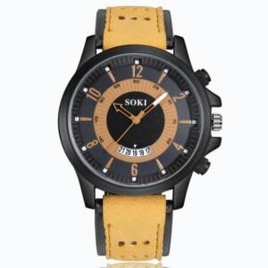 Хорошие мужские часы «SOKI» с чёрным корпусом и двухцветным ремешком купить. Цена 365 грн