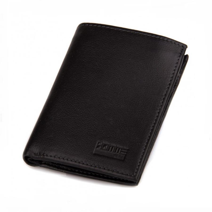 Вертикальный бумажник «KAFA» с магнитной застёжкой из мягкой чёрной кожи купить. Цена 665 грн