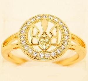 Патриотичное кольцо «Герб в алмазах» с высококлассной позолотой купить. Цена 175 грн