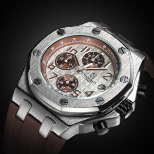 Мужские часы «Hemsut» в спортивном стиле с коричневым силиконовым ремешком купить. Цена 1590 грн