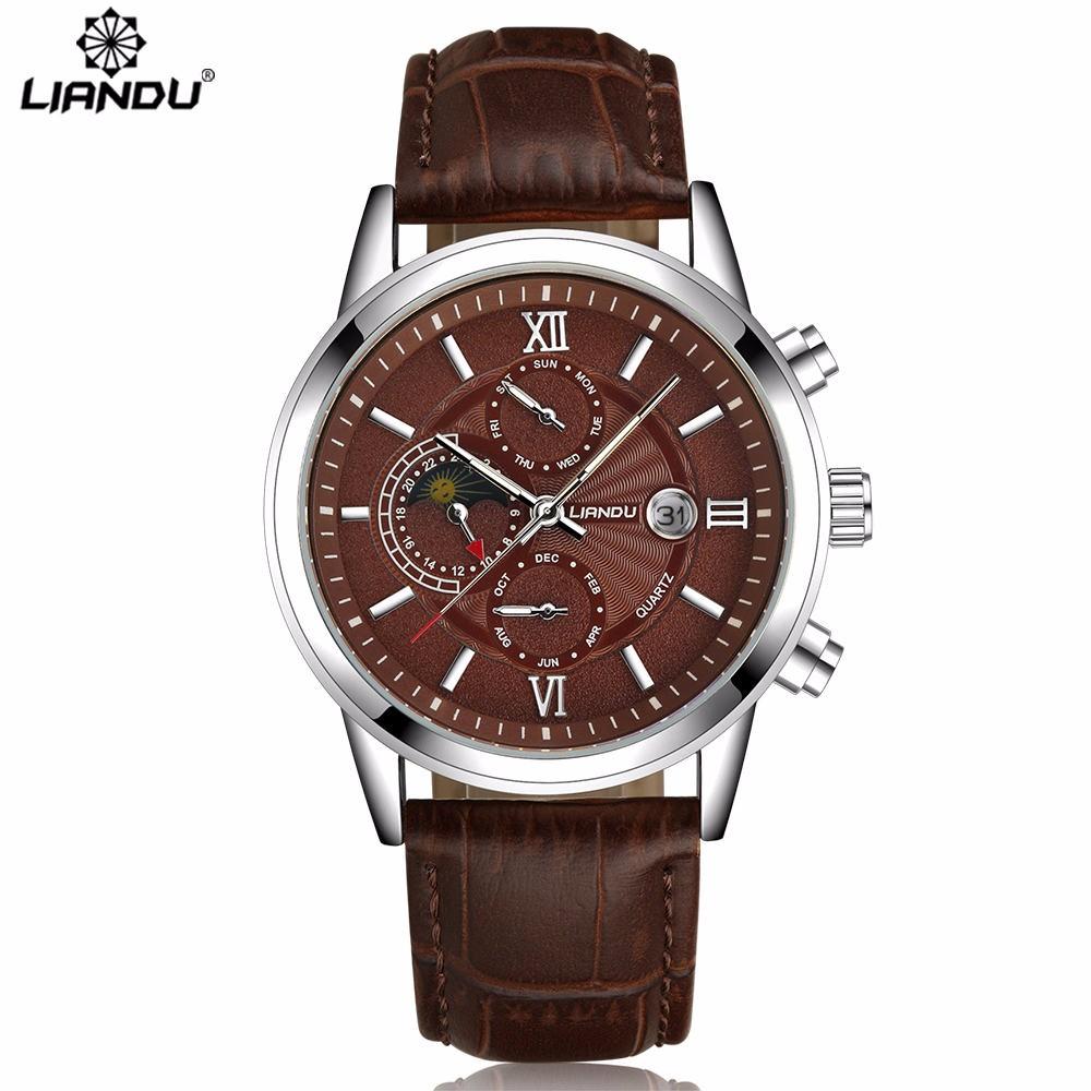 Современные мужские часы «Liandu» с коричневым циферблатом и календарём купить. Цена 1370 грн