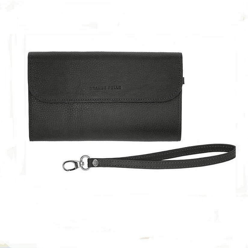 Элитный мужской клатч «Grande Pelle» из чёрной итальянской кожи флотар купить. Цена 2070 грн