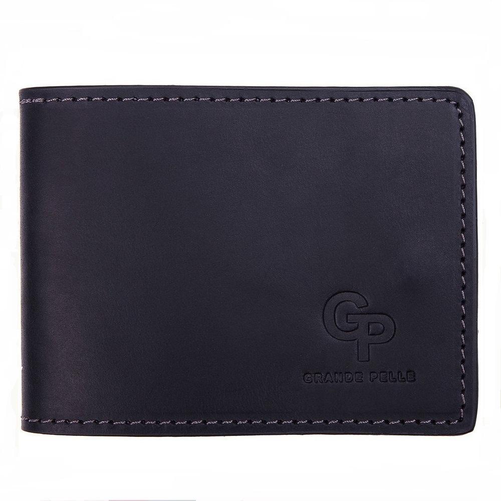 Ультратонкий бумажник «Grande Pelle» из матовой кожи синего цвета купить. Цена 345 грн