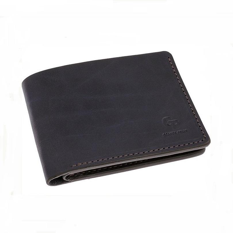 Синий бумажник «Grande Pelle» украинского производства из натуральной кожи купить. Цена 899 грн