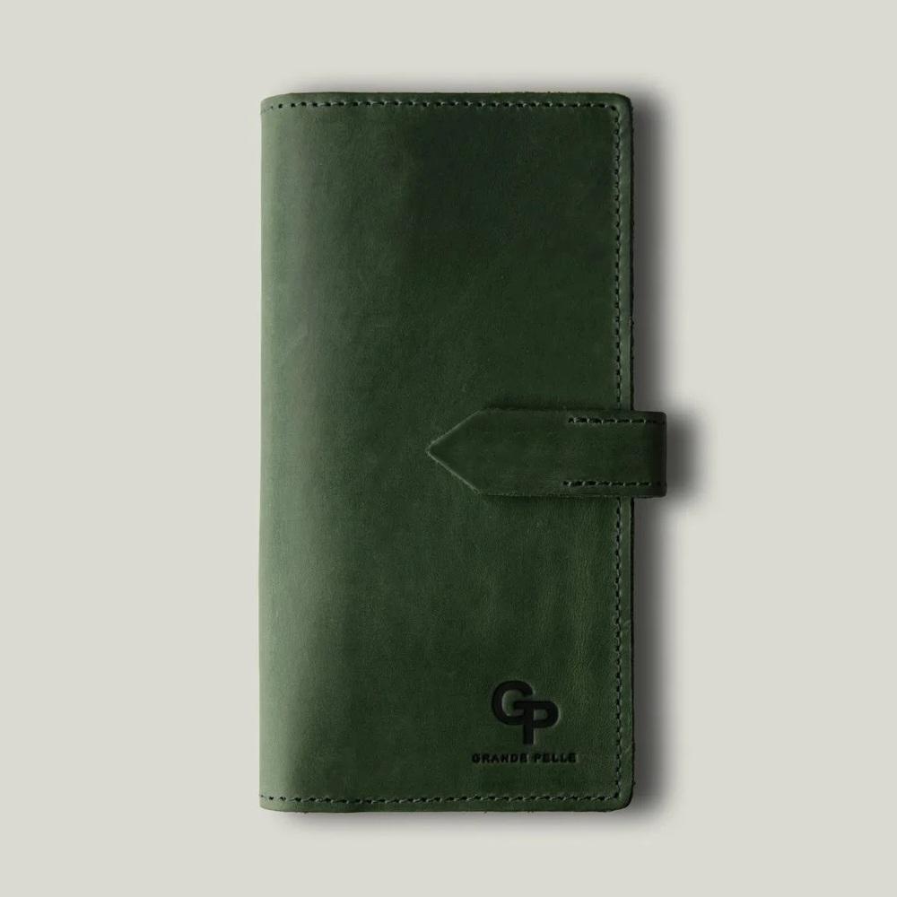 Супертонкий кошелёк «Grande Pelle» из итальянской кожи «crazy horse» зелёного цвета купить. Цена 799 грн