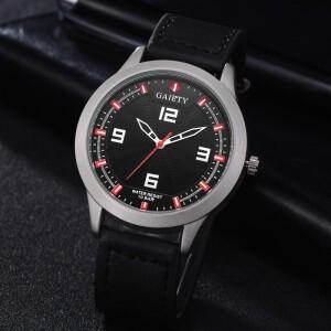 Серебристые часы «Gaiety» с корпусом матового цвета и чёрным ремешком купить. Цена 265 грн