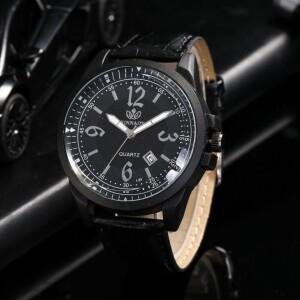 Большие чёрные часы «Rinnady» с окошком даты и ремешком из экокожи купить. Цена 265 грн