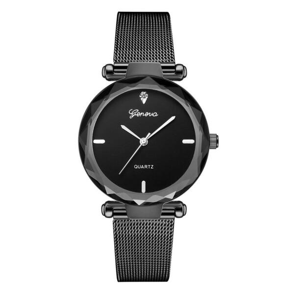 Лаконичные часы «Geneva» чёрного цвета с металлическим ремешком-кольчугой купить. Цена 335 грн