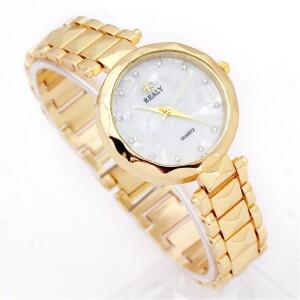 Классические женские часы «Realy» с металлическим браслетом и круглым циферблатом фото. Купить