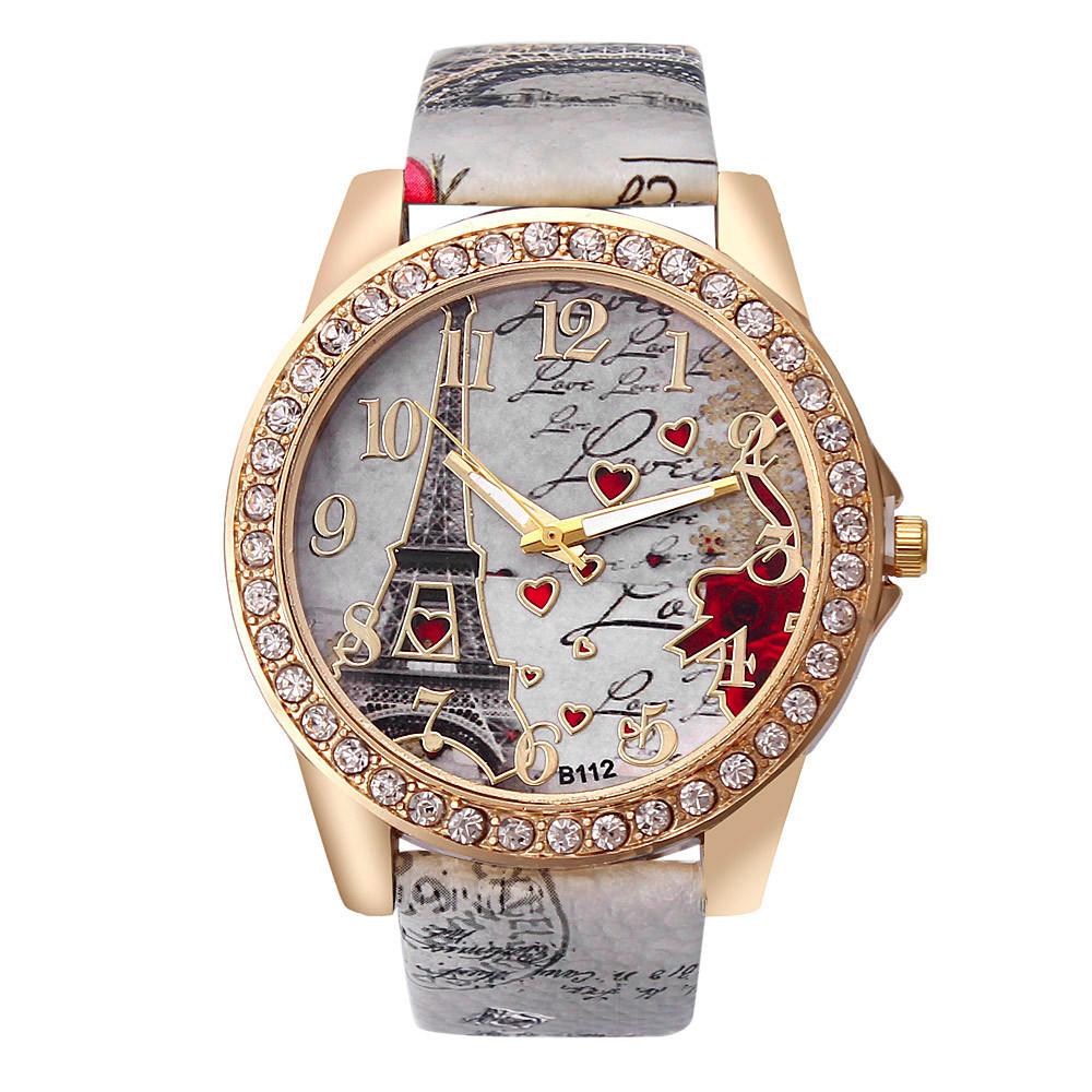 Романтичные часы «Geneva» с Эйфелевой башней на циферблате купить. Цена 255 грн