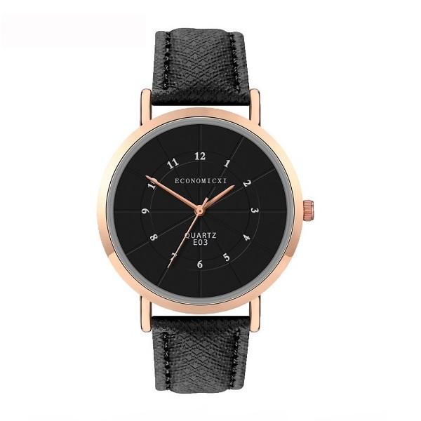 Лаконичные женские часы «Economicxi» с мелкими цифрами на чёрном циферблате купить. Цена 275 грн