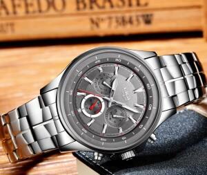 Отличные мужские часы «LIGE» в деловом стиле с красивым металлическим браслетом фото 1