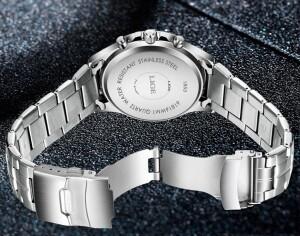 Отличные мужские часы «LIGE» в деловом стиле с красивым металлическим браслетом фото 2