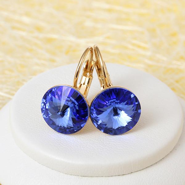 Божественные серьги «Сапфиры» с круглым синим камнем Swarovski купить. Цена 299 грн