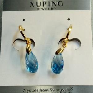 Оригинальные серьги-капельки «Бриолет» с голубым кристаллом Сваровски и золотым покрытием фото. Купить
