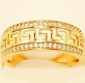 Качественное кольцо «Фокида» с греческим орнаментом и позолотой купить. Цена 185 грн