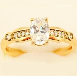 Благородное кольцо «Валуа» с овальным цирконом и золотым напылением купить. Цена 175 грн