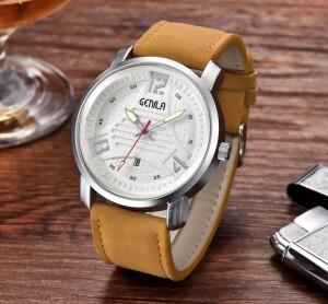 Крупные мужские часы «Genila» с корпусом цвета матовое серебро купить. Цена 399 грн
